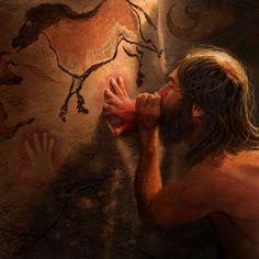 método de pintado de mano por negativado, soplando pintura contra una pared de caverna o roca